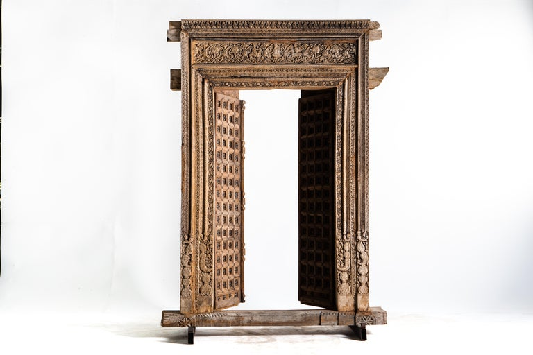 Early 20th Century Monumental Carved Indian Entrance Doors For Sale