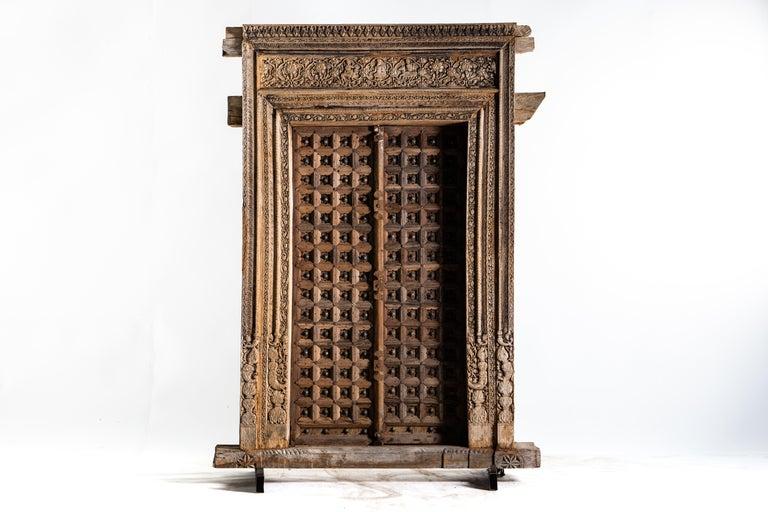 Monumental Carved Indian Entrance Doors For Sale 1