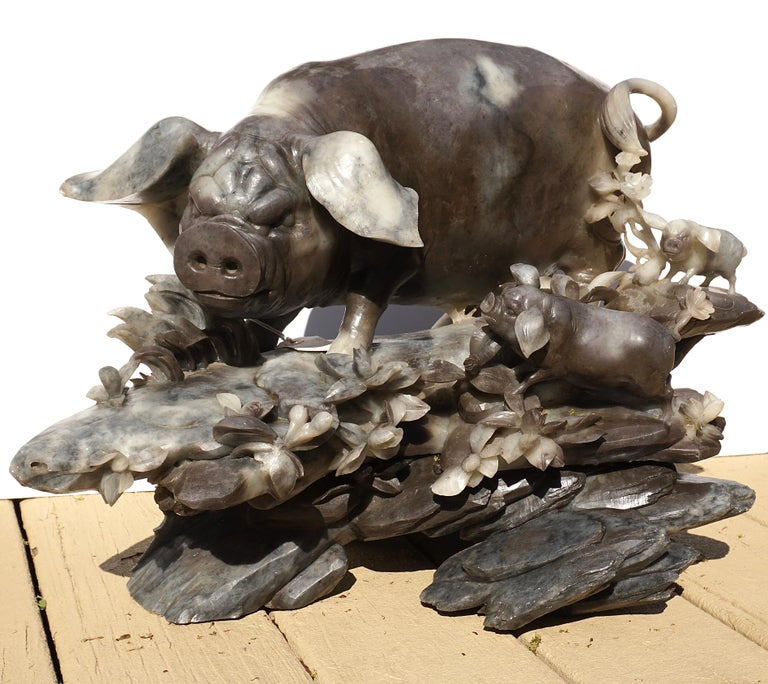 Chinese Monumental Carved Stone Pig Sculpture Qing Dynasty