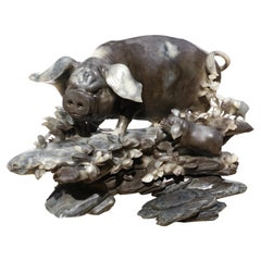 Monumental Carved Stone Pig Sculpture Qing Dynasty