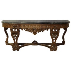 Monumental Carved Walnut French Portoro Marble Top Sideboard Buffet, circa 1920
