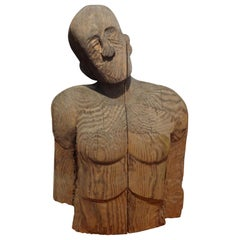 Monumental Carved Wood Bust by Jim Pruitt