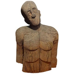 Monumental Carved Wood Torso or Bust by Jim Pruitt