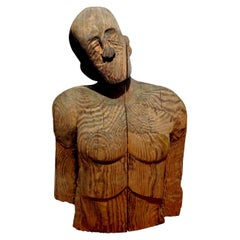 Monumental Carved Wood Torso or Bust by Jim Pruitt