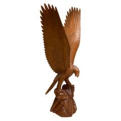 Monumental Carved Wooden Eagle Sculpture