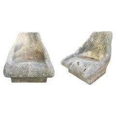 Monumental Cast Concrete Garden Chairs