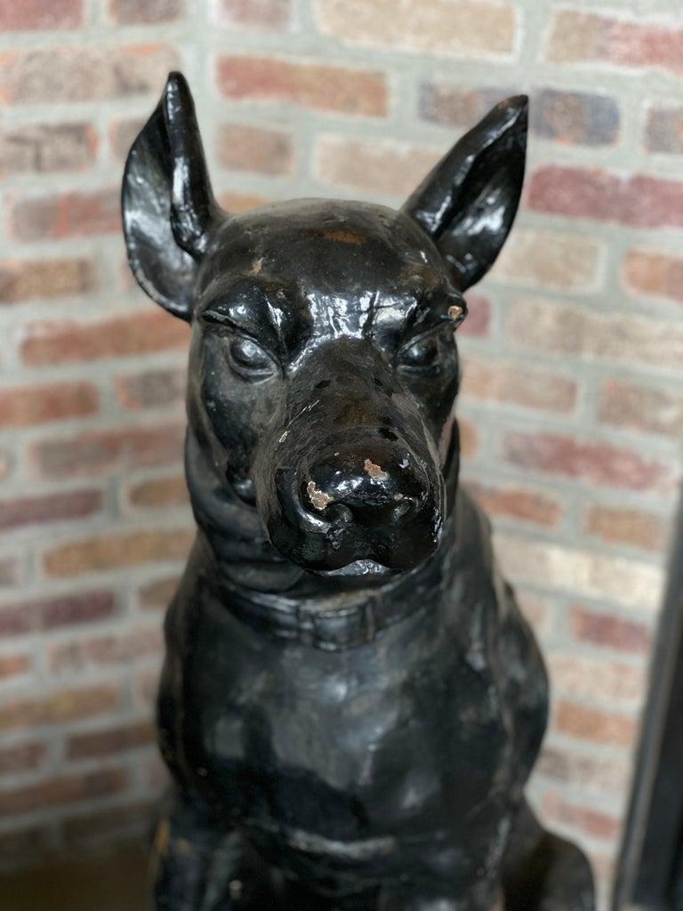 European Monumental Cast Iron Dog Statues, 19th Century For Sale