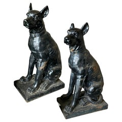 Monumental Cast Iron Dog Statues, 19th Century
