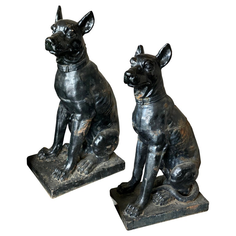 Monumental Cast Iron Dog Statues, 19th Century For Sale