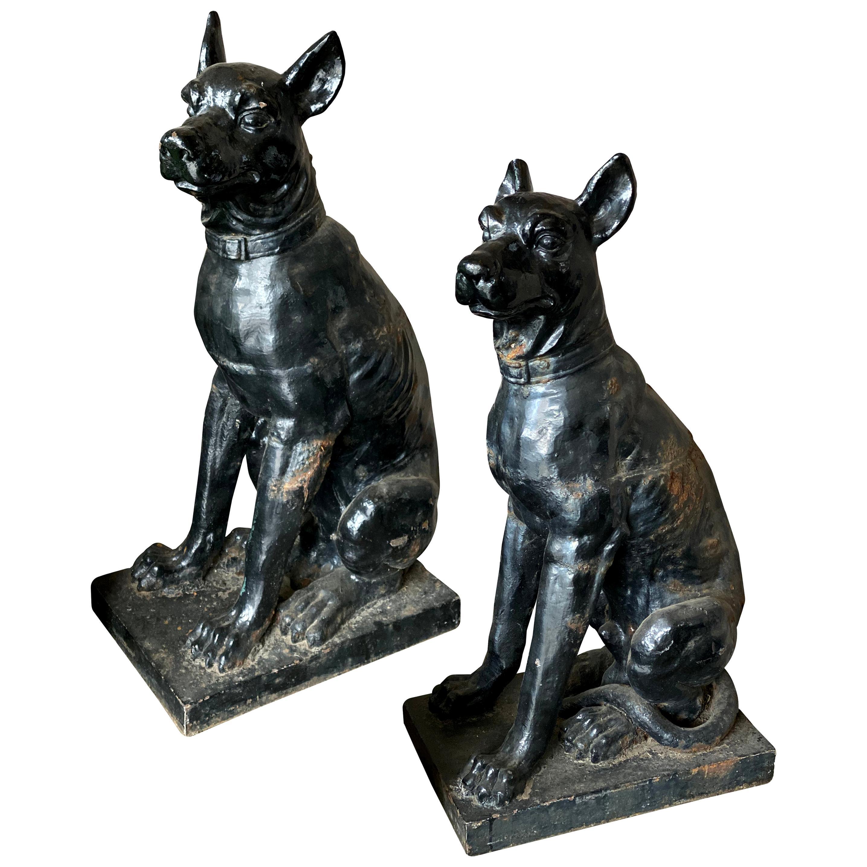 Monumental Cast Iron Dog Statues, 19th Century
