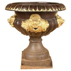 Monumental Cast Iron Garden Urn Lion Masks Relief