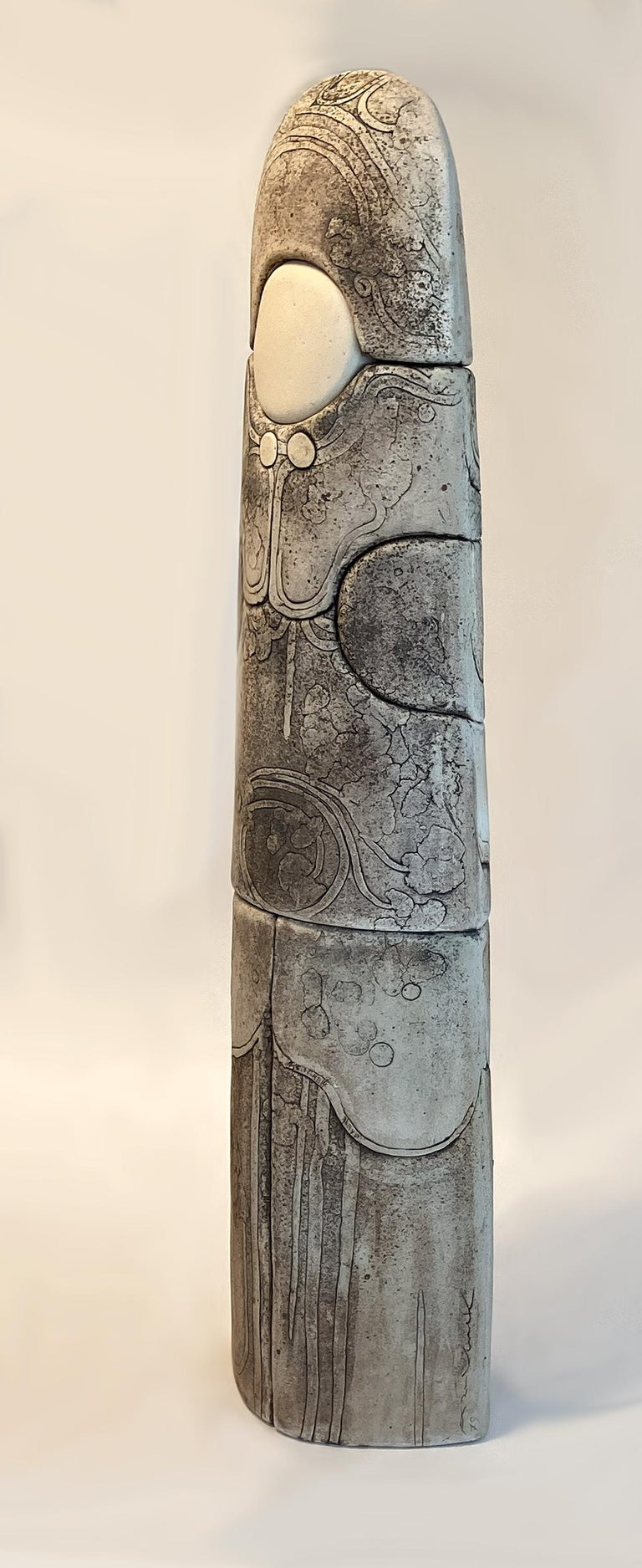 Monumental Ceramic Pottery Sculpture by Antoine de Vinck, France, 1970s. Proudly offered here is a Belgian ceramist Antoine de Vinck (1924-1992) three-piece, wood fired ceramic and sandstone totem, carved with deep relief of assembled, glazed clay