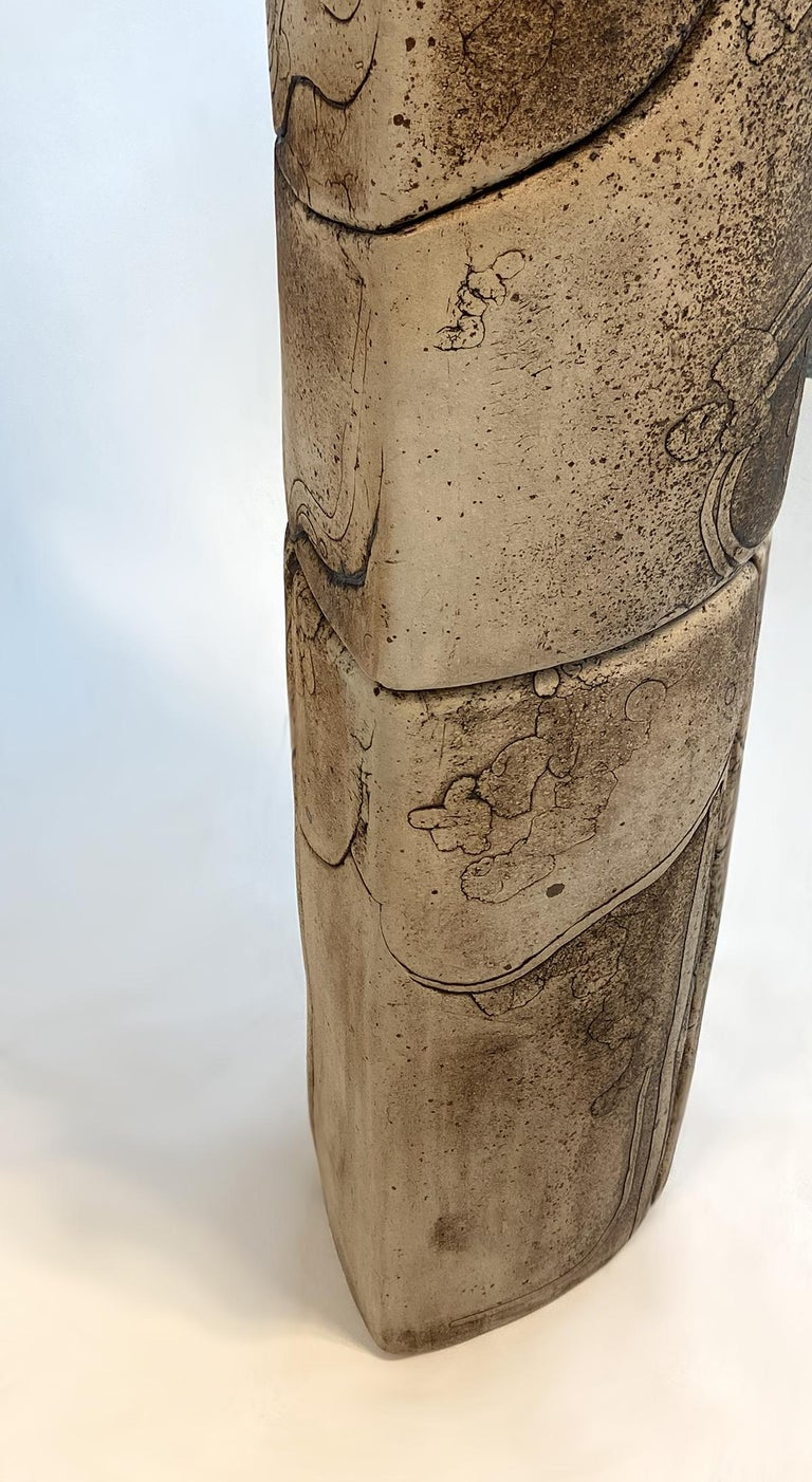 Fired Monumental Ceramic Pottery Sculpture by Antoine de Vinck, France, 1970s For Sale