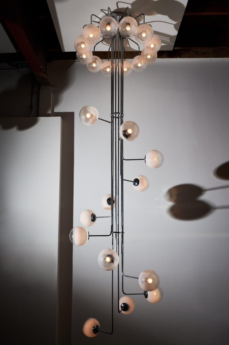 Mid-Century Modern Rare Monumental Chandelier by Angelo Mangiarotti for Candle For Sale