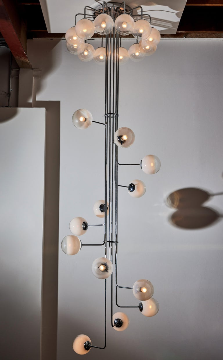 Late 20th Century Rare Monumental Chandelier by Angelo Mangiarotti for Candle For Sale