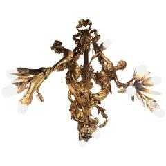 Monumental Chandelier in Louis XVI Style, Solid Bronze, Gilt, Unique
