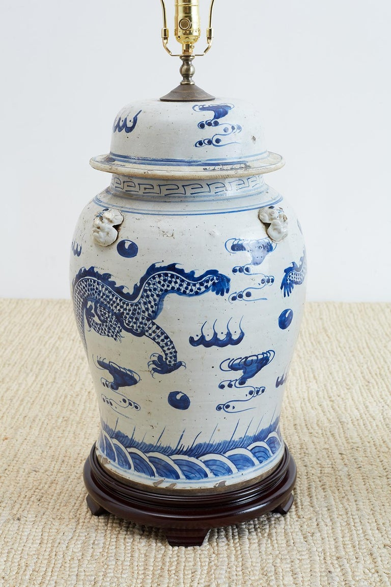 Chinese Export Monumental Blue And White Ginger Jar Lamps For