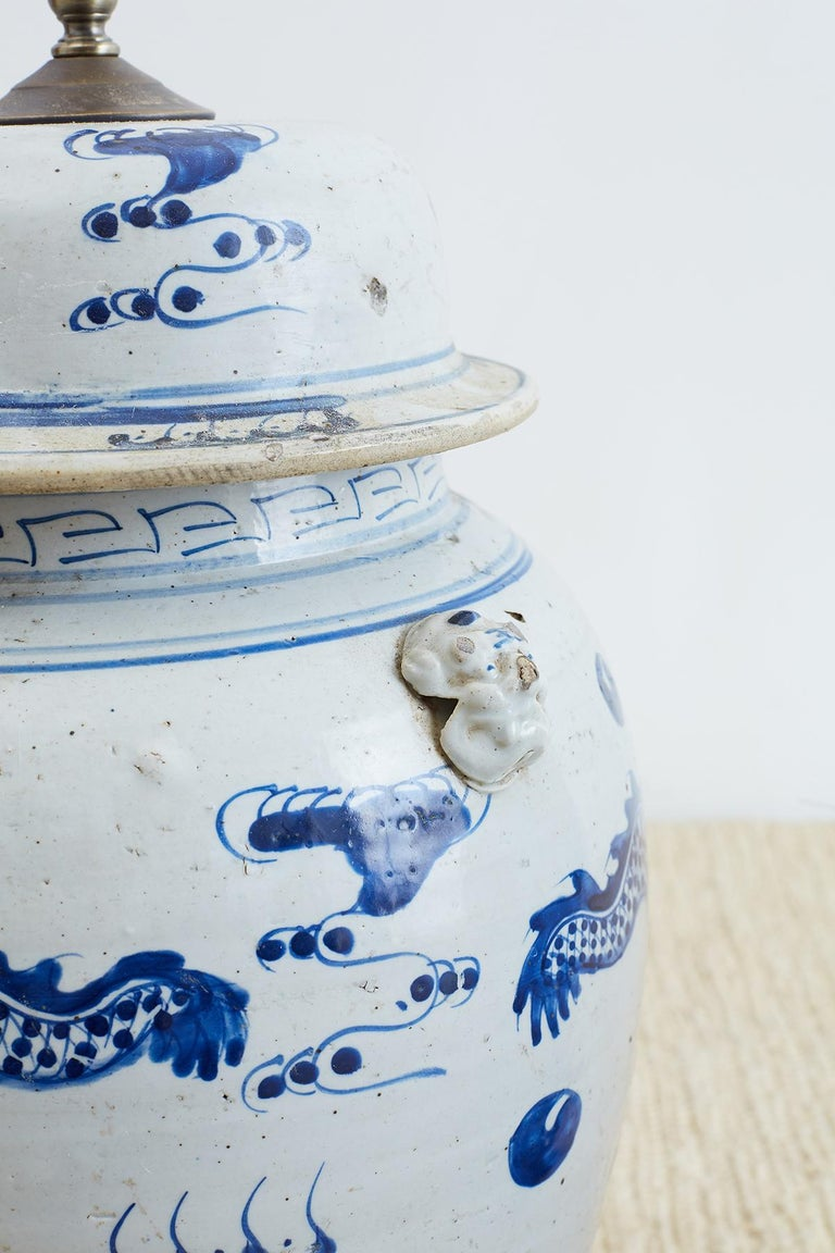 Br Monumental Chinese Blue And White Ginger Jar Lamps For