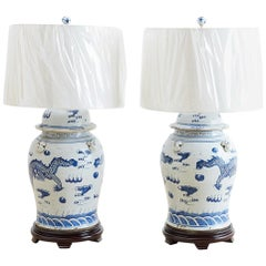Monumental Chinese Blue and White Ginger Jar Lamps
