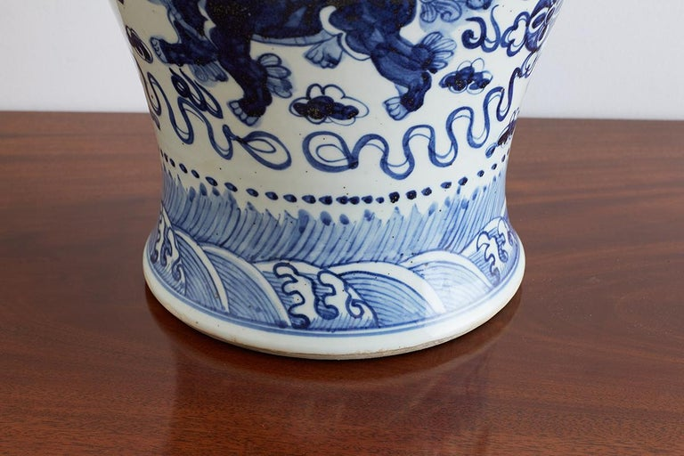 Monumental Chinese Blue and White Porcelain Ginger Jar For Sale 4