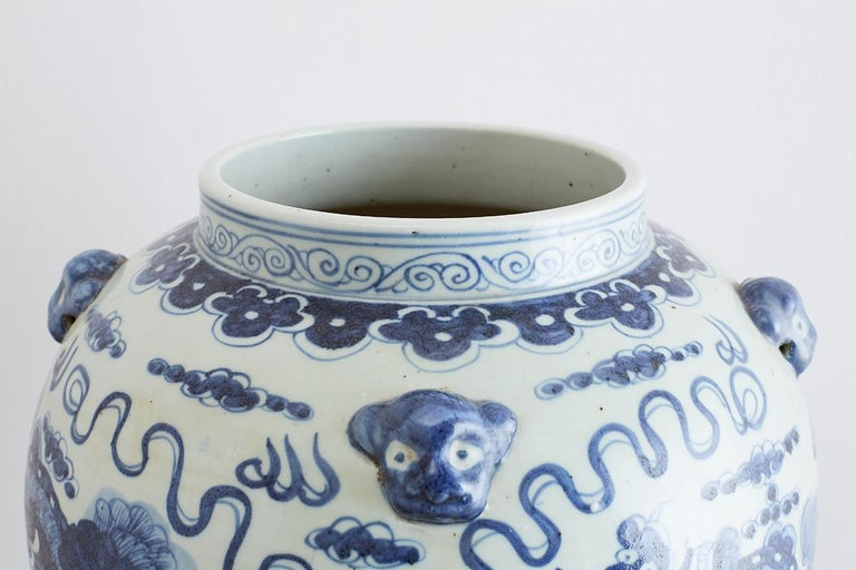 Monumental Chinese Blue and White Porcelain Ginger Jar For Sale 6