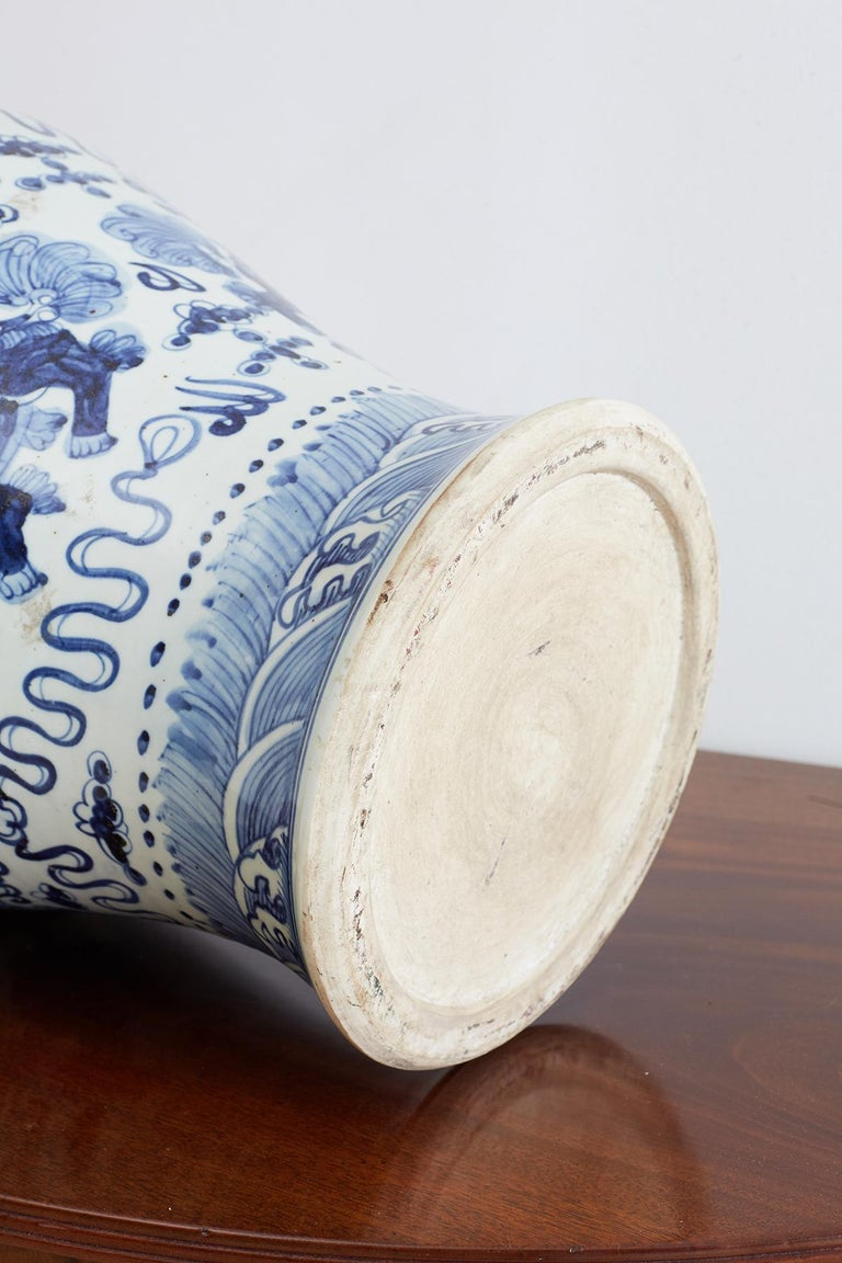 Monumental Chinese Blue and White Porcelain Ginger Jar For Sale 8
