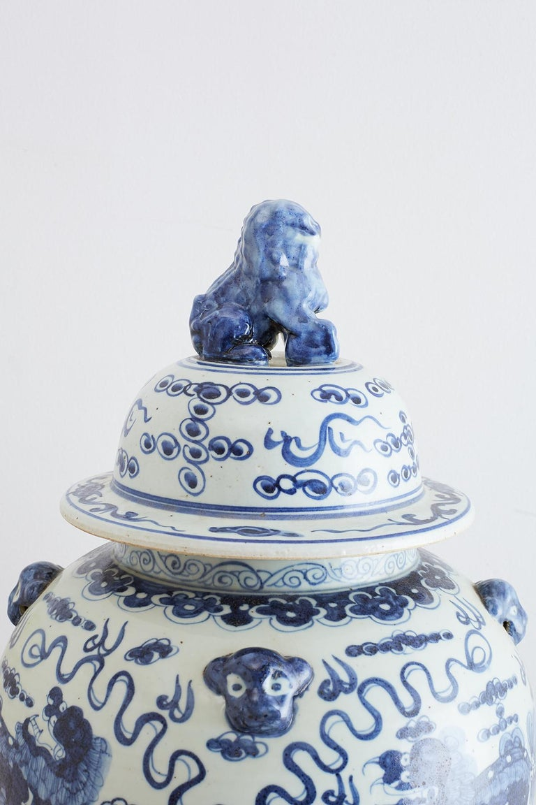 Monumental Chinese Blue and White Porcelain Ginger Jar For Sale 9