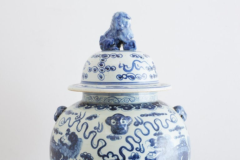 Monumental Chinese Blue and White Porcelain Ginger Jar For Sale 10