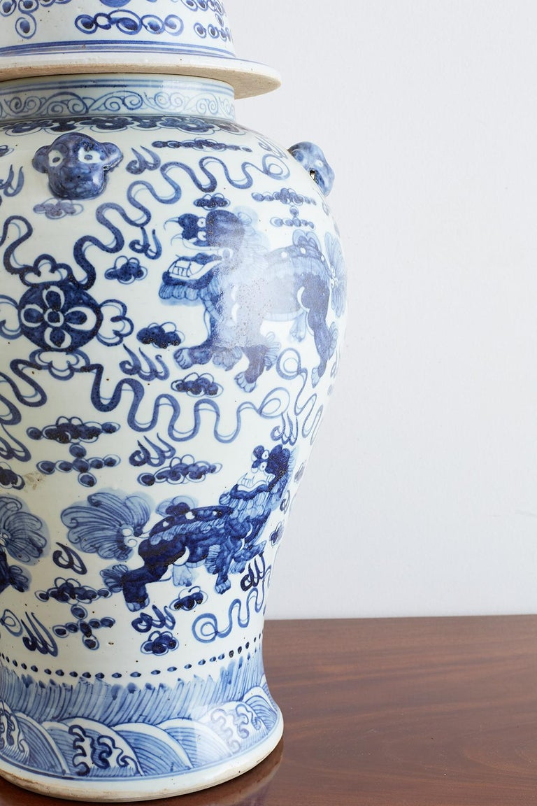 Monumental Chinese Blue and White Porcelain Ginger Jar For Sale 11