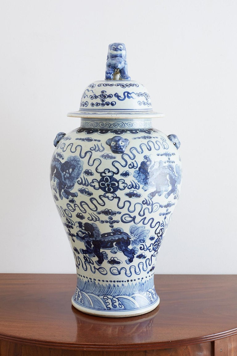 Chinese Export Monumental Chinese Blue and White Porcelain Ginger Jar For Sale