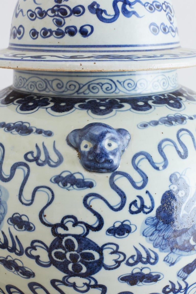 Hand-Crafted Monumental Chinese Blue and White Porcelain Ginger Jar For Sale