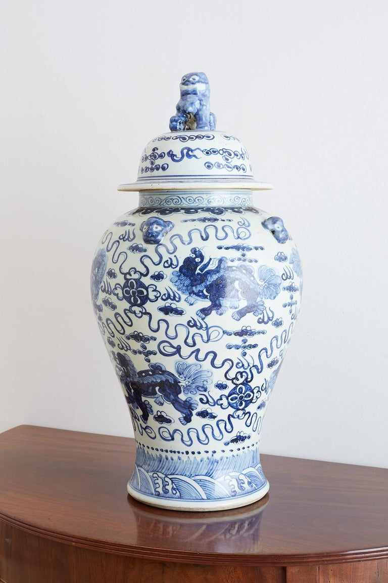 20th Century Monumental Chinese Blue and White Porcelain Ginger Jar For Sale