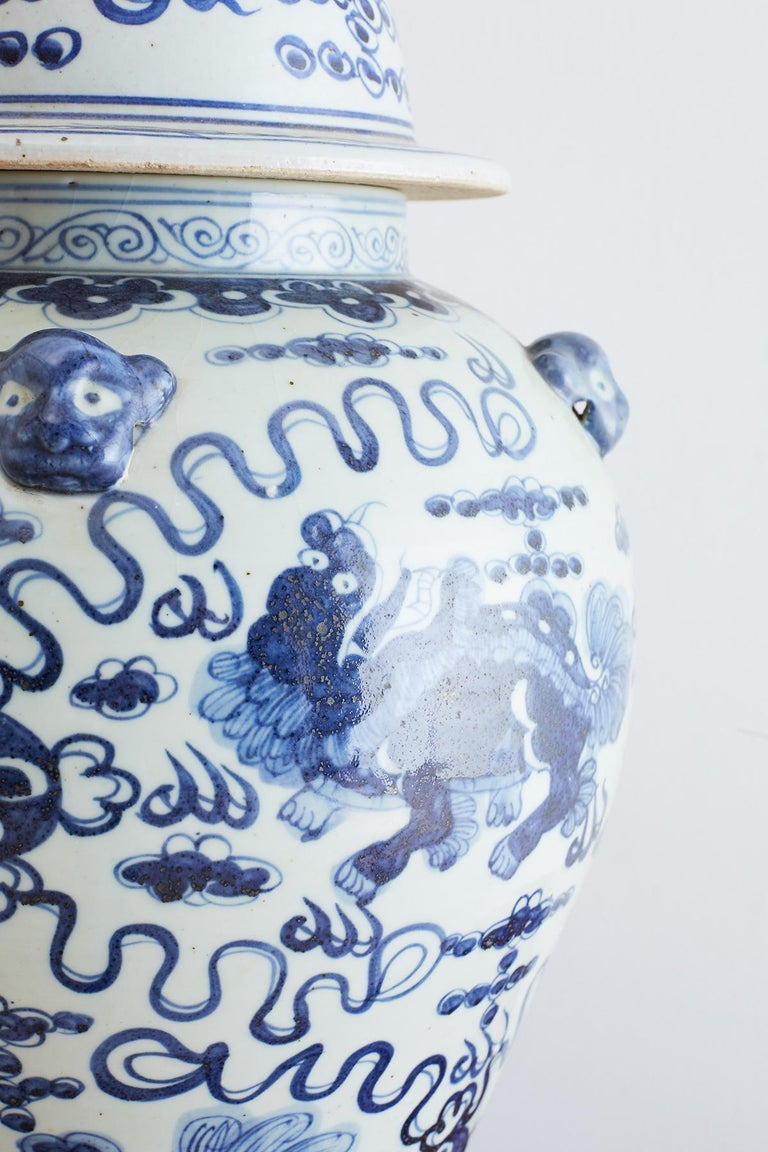 Monumental Chinese Blue and White Porcelain Ginger Jar For Sale 1