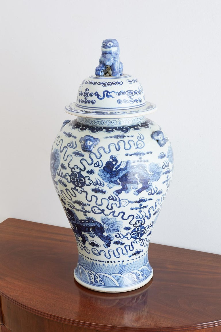 Monumental Chinese Blue and White Porcelain Ginger Jar For Sale 2