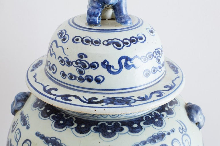 Monumental Chinese Blue and White Porcelain Ginger Jar For Sale 3