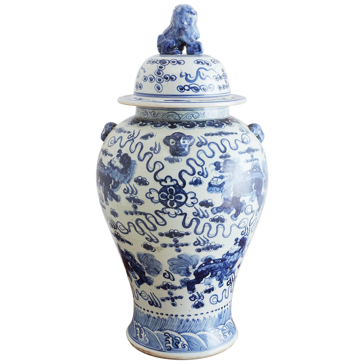 Monumental Chinese Blue and White Porcelain Ginger Jar