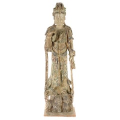 Monumental Chinese Carved and Painted Quan Yin Figure, 19th Century