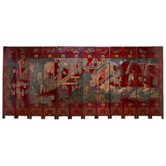Monumental Chinese Export Twelve-Panel Lacquered Coromandel Screen