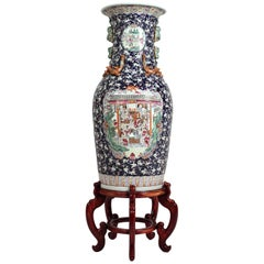 Monumental Chinese Famille Rose Hand Painted Enamel Porcelain Vase & Wood Stand