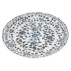 Monumental Chinese Indigo Blue and White Platter
