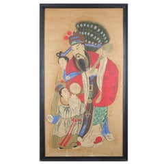 Monumental Chinese Portrait Painting of Tin-Kuan, Signed