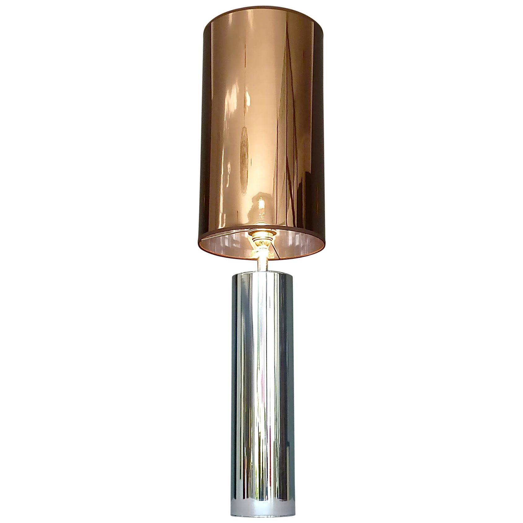Monumental Chrome Steel Table Lamp Willy Rizzo Cardin Style Bronze Mirror 1970s