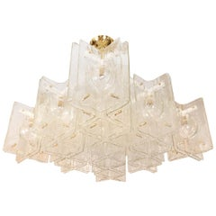 Monumental Clear Glass Intersecting Fixture