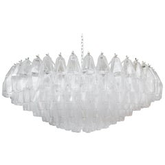 Monumental Clear Murano Glass Polyhedral Chandelier by Venini