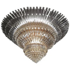 Monumental Contemporary Italian Murano Glass Triedi Ceiling Light