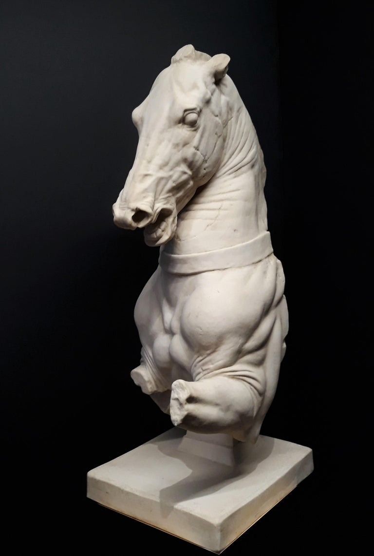 Very impressive plaster reproduction of a classical Trojan horse artifact housed in the British Museum in London. Most likely executed in the early 20th century by a gipsoteca (plaster cast workshop) in Italy, this plaster faithfully reproduces the
