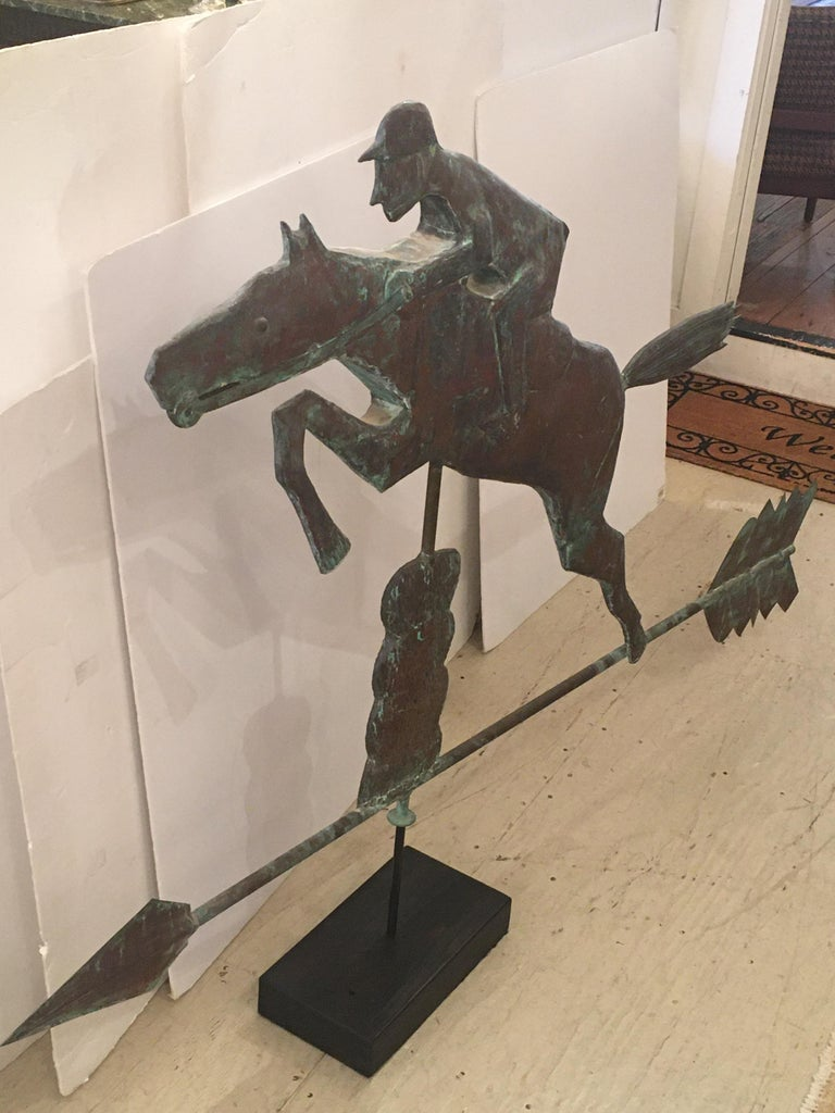 Monumental Copper Weathervane Sculpture of Horse and Rider In Excellent Condition For Sale In Hopewell, NJ