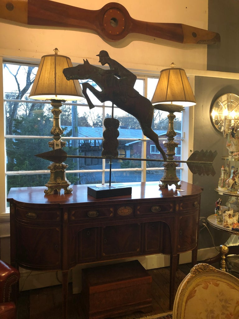 Early 20th Century Monumental Copper Weathervane Sculpture of Horse and Rider For Sale