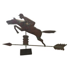 Monumental Copper Weathervane Sculpture of Horse and Rider