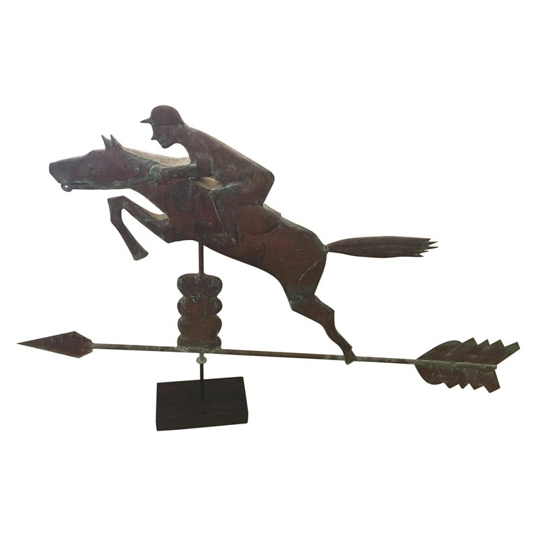 Monumental Copper Weathervane Sculpture of Horse and Rider For Sale